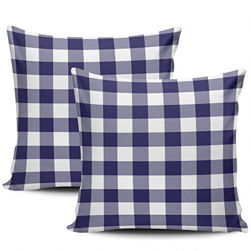 GodYo verpakking met 1 sofakussenslopen Navy Blue Check Plaid Verborgen ritssluiting kussenslopen vierkante kussenslopen