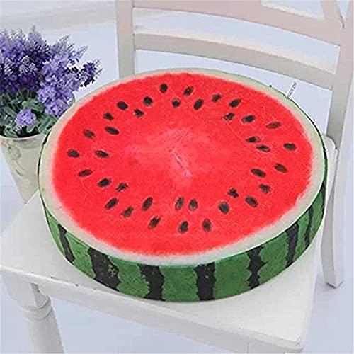 Almohada redonda de fruta, diseño creativo de kiwi naranja sandía Pitaya cojín de asiento con diseño de madera natural suave cojín para la decoración del hogar (sandía, impresión de 33 cm)