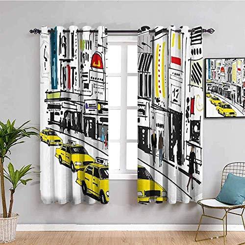LWXBJX Opacas Cortinas Dormitorio - Dibujos Animados Calle Taxi Graffiti - Impresión 3D Aislantes de Frío y Calor 90% Opacas Cortinas - 200 x 160 cm - Salon Cocina Habitacion Niño Moderna Decorativa