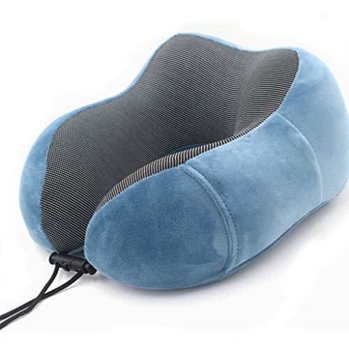 LLKK Almohada de Apoyo para el Cuello súper Suave y cómoda,Almohada de Viaje,Almohada de Espuma con Memoria para el Cuello,Azul,Rosa,Bolsa de Almacenamiento Gratuita