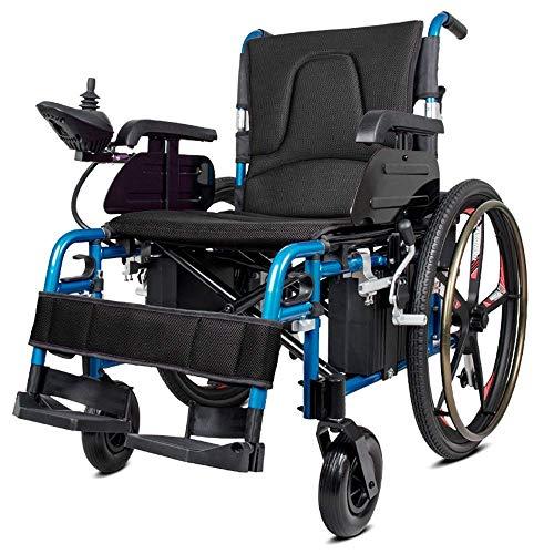 MJY Elektrorollstuhl, Leichter faltbarer Doppelfunktionsrollstuhl (Li-Ionen-Akku), Fahren mit Elektroantrieb oder Verwendung als manueller Rollstuhl ghk