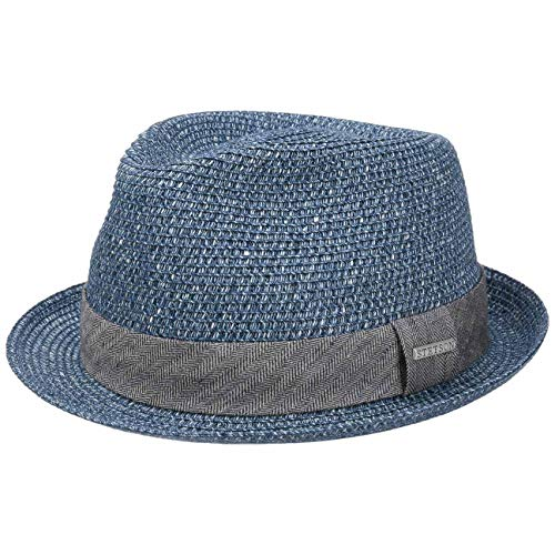 Stetson Reidton Toyo Trilby Strohhut Herren - Melierter Hut mit Garniturband - Sonnenhut aus Toyo-Stroh - Herrenhut - Sommerhut Frühjahr/Sommer - Trilbyhut blau XL (60-61 cm)