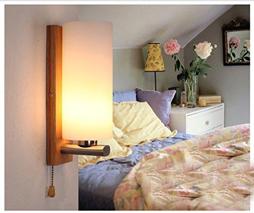 Petite lampe de chevet lampe de mur lampe de mur de la chambre de bois créatifs japonais tête simple lampe murale escalier allée Nordic Light (energy rating efficacité A +)