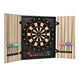 OneConcept Dartmaster 180 - Auto Darts, Electronic Targets, E-Darts, PC Game, 27 Games, 150 Variants, 8 Players Max, 9 Keys, LED Display, 12 Darts - Beige