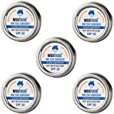 Waxhead Travel Tins - Reef Safe Sunscreen Zinc Oxide for Face, Safe Sunscreen Hawaii, Non Toxic Surfing Sunscreen for Fishermen, Eco Friendly, Travel Size, Biodegradable, Used by Lifeguards (SPF 30, 5-pack, No Tint)