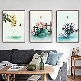 N / A Pintura sin Marco Hoja Verde Primavera Flores florecientes Sala de Estar Chica Arte de la Pared Dormitorio Mariposa decoración del hogar ZGQ7590 60x80cmx3