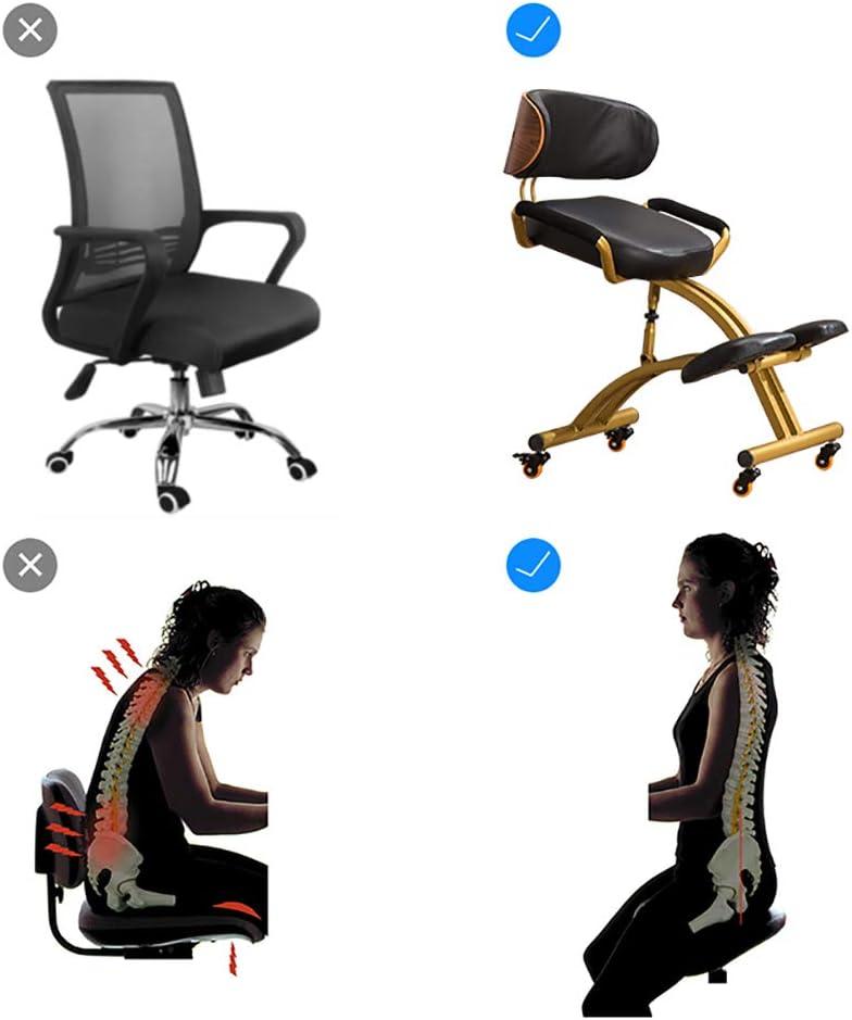 L&T Chaise Ergonomique Soutien Au Dos,Réglable Chaise à Genoux Bureau,Cuir Tabouret Ergonomique à roulettes Soutien Lombaire roulettes-Vert Café