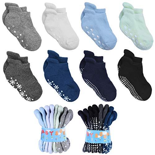 VBIGER Baby Socken Stoppersocken Kinder Baumwolle Antirutschsocken Rutschfeste ABS Socken mit süße Rutschfester Griff Kuschelige Söckchen für Kleinkind Baby Jungen und Mädchen von 6-12 Monate