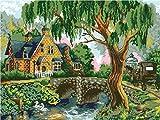 Kit de pintura al óleo de nuevo producto / Pintura por números / Sin marco / Decoración del hogar Pintura muy significativa-Pueblo tranquilo