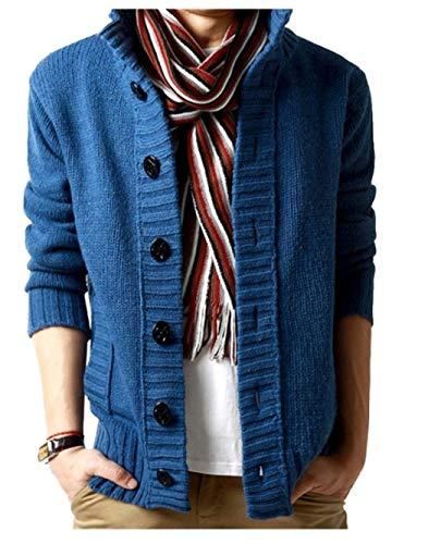 wkd-thvb Grueso Suéter de los Hombres Collar Slim Fit de Punto para Hombre Suéteres Cardigan Masculino Otoño Invierno Casual Tops