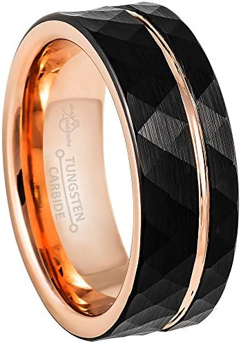 Jewelry Avalanche 2 Tone Men s Tungsten Ring Black Rose Gold Hammered Finish Pipe Cut Faceted product image