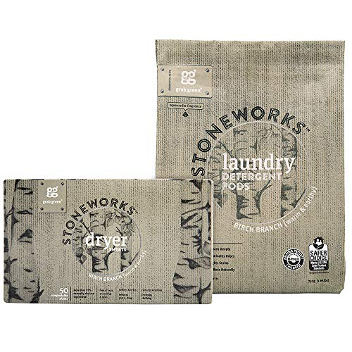 Grab Green Stoneworks Laundry Detergent Pods and Dryer Sheet Kit, Powered by Naturally-Derived Plant & Mineral-Based Ingredients, Birch Branch, 50 Loads