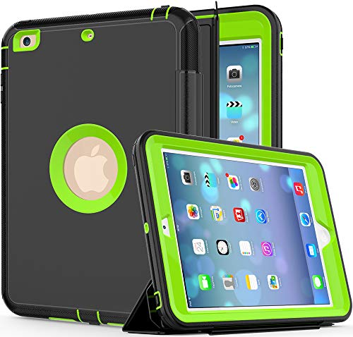 SAYMAC iPad Mini Case iPad Mini 2 Case iPad Mini 3 Case 3-Layer Rugged Shockproof Protective Heavy Duty Case with Magnetic Smart Auto Wake/Sleep Cover for iPad Mini 1st/2nd/3rd Gen (Black/Green)