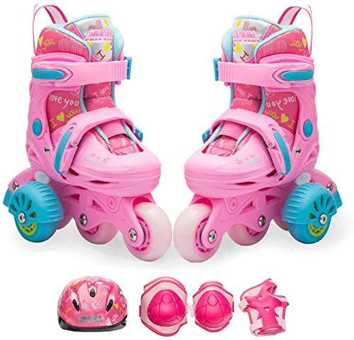 KMILE Skate Kinder anf? Nger kompettsatz rollschuhe rollschuhe arren und Damen en línea verssellbar/Rosa (Color : Pink, Size : 25-28EU)