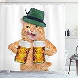 ABAKUHAUS Duschvorhang, Katze mit Zwei Maß Bayerischem Stil Bier Oktoberfest Alkohol Lustige Katze Bild Druck Mehrfarbig, Wasser und Blickdicht aus Stoff mit 12 Ringen Schimmel Resistent, 175 X 200 cm