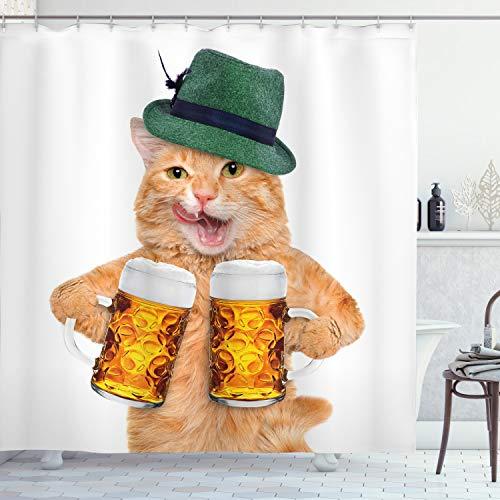 ABAKUHAUS Katze Duschvorhang, Cooler Katzen-Hut-Bierkrug Lustig, mit 12 Ringe Set Wasserdicht Stielvoll Modern Farbfest & Schimmel Resistent, 175x240 cm, Mehrfarbig