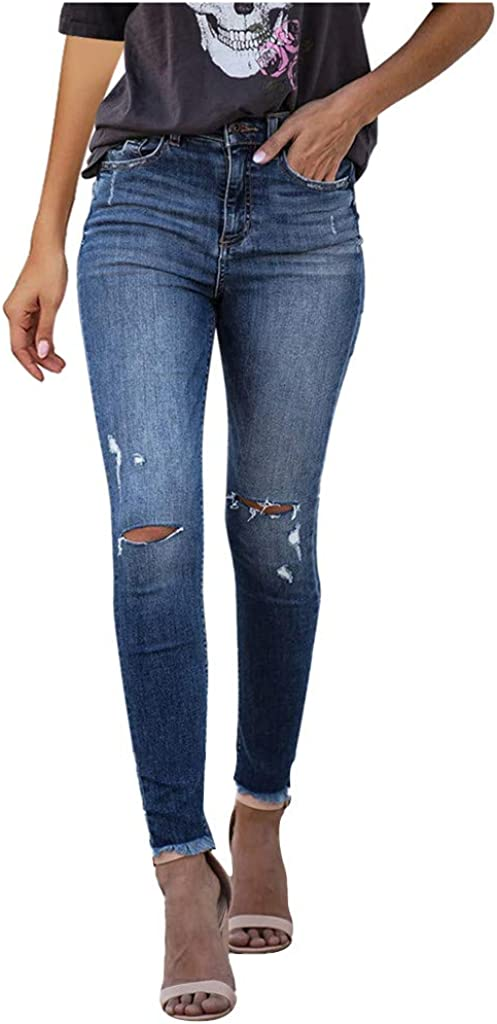 Jeans for Women,Women's Skinny Ripped Mid Waiste Skinny Hole Denim Button Stretch Slim Pants Calf Length Jeans