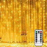 Vegena LED USB Lichtervorhang 3m x 3m, 300 LEDs Lichterkettenvorhang mit 8 Modi Lichterkette Gardine für Partydekoration Schlafzimmer Innenbeleuchtung Weihnachten Deko Warmweiß...