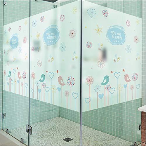 Djkaa Blauwe en roze vogel glas film glas in lood lijm muur sticker mat raam film home decoratie glazen film