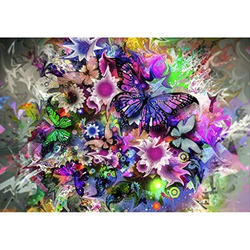 5D Broderie Diamant Peintures,veyikdg Belle Papillon Fleur Motif Strass Collé DIY Cristal Peinture Point De Croix 30x25cm Artisanat Travail À La Main Salon Chambre Chambre Décoration (Mr)