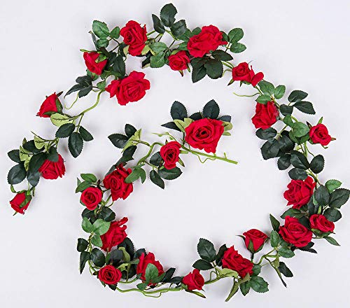 smilecstar Kunstplanten, kunstbloemen, namaakbloem, roze, kunstbloemen, wijnstok, decoratieve wijnstok, indoor-airconditioning, buis, plafond, wrap, wanddecoratie, bloem, wijnstok, lengte 180 cm, 24 bloemen, rood