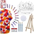 Kids Art Set for Girls – 28 Piece Acrylic Painting Supplies Kit with Storage Bag, 12 Washable Paints, 1 Scratch Free Paint Easel, 6 Pre-Stenciled Canvases 8 x 10 inches, 5 Brushes, 10 Well Palette