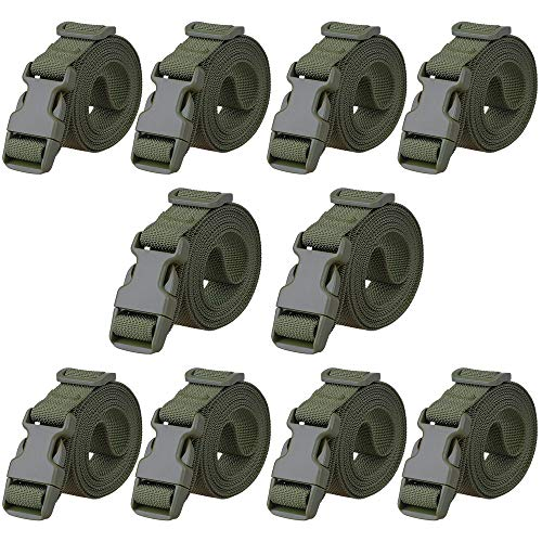 MAGARROW 78' x 1' Strap Buckle Packing Straps Adjustable 1-Inch Belt (Green (10-PCS))
