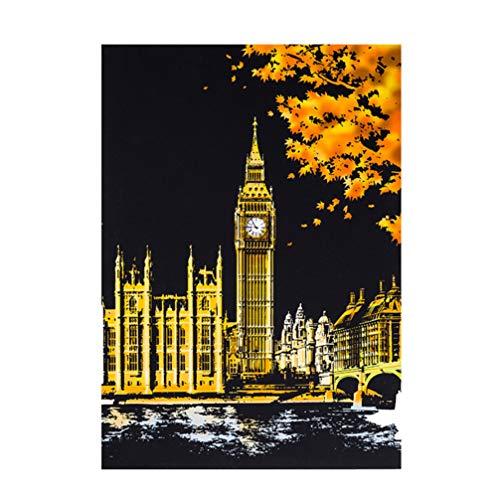 Healifty Stadt Nacht Kratzbild London Big Ben Kratzer Kunst Kratzer Notizen DIY Graffiti Skizzenbuch Bild Notizbuch Spielzeug für Kinder Kunsthandwerk