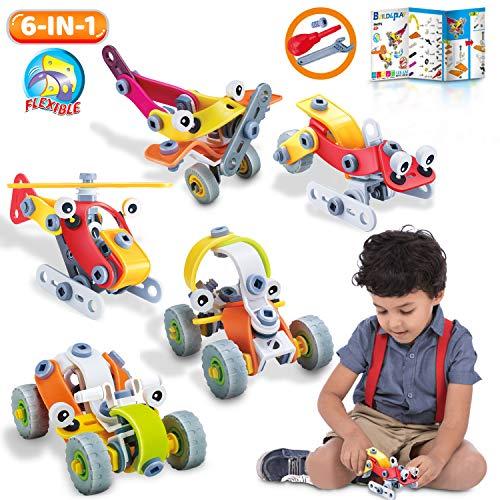 lenbest Bausteine Spielzeug, 167 Stück STEM Konstruktionsspielzeug, 6 in 1 Kreatives Bauen Gebäude Spielzeug Geschenk für Kinder Jungen & Mädchen - aus ABS-Kunststoff