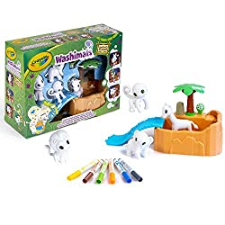 Safari animal playset includes four safari animals exclusive to this set one scrub tub with slide one scrub brush six washable markers and an instruction sheet It's a jungle out there join in the fun and add to your washimals collection with wildly a...