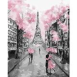 Pintura por números,Eiffel Tower Couple Pintura por Números para Adultos Bricolaje Lienzo Preimpreso Pintura al óleo Arte Decoración del Hogar Reducir la Ansiedad,40cmX50cm(sin marco).