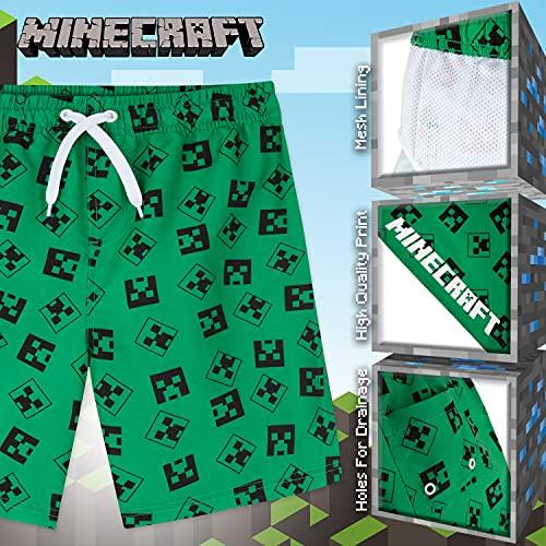 Minecraft Bañador Niño, Bañadores niño, Bañador Chico para Piscina o Playa, Regalos Niños y Adolescentes 4-14 Años (Verde, 11-12 años)