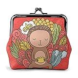 Coin Bag Cute Cartoon Monkey Holding Dim Sum Buckle Leather Coin Purse Pouch Keychain Wallet Kiss-lock Change Purse Wallets