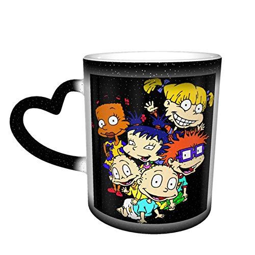 R-Ugr-at-S Taza cambiante de color sensible al calor, taza cambiante en el cielo, taza de café mágica arte divertido, taza de cerámica, regalos personalizados para los amantes de la familia y amigos