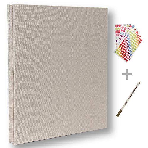 Álbum de fotos autoadhesivo, álbum de recortes magnético, 40 páginas, tapa dura, 28 x 26 cm, incluye caja de almacenamiento para álbum de fotos, kit de accesorios DIY blanco