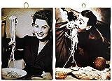KUSTOM ART Juego de 2 cuadros de estilo vintage de los famosos Totò y una Juvenil Sofia Loren, impresión sobre madera, para decoración de restaurantes, pizzerías, bares, hoteles, locanda