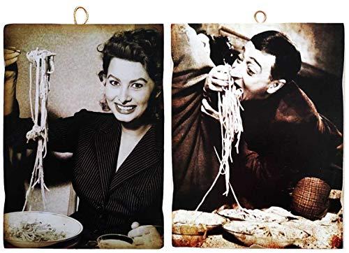 KUSTOM ART Set di 2 Quadretti Stile Vintage Attori Famosi - Totò e Una Giovanissima Sofia Loren - Stampa su Legno per Arredamento Ristorante Pizzeria Trattoria Bar Albergo Locanda