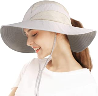 camptrace Safari Sun Hats for Women Bucket Hat Wide Brim Sun Protection Boonie Hat Cap with Ponytail Hole for Summer Golf Fishing Hiking Camping Hunting Boating Beach Cooling Sunhat