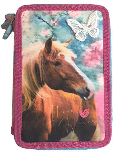 I Love Horses Pferde 3 - Fach Federmappe Federtasche mit 43 Teilen gefüllt Federmäppchen