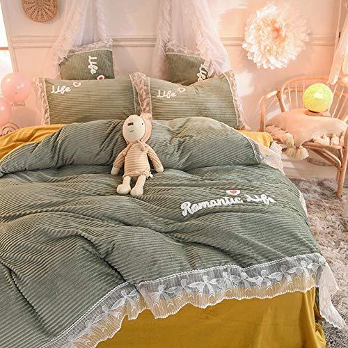 DSDD Juego de Funda nórdica Doble, Princess Wind Coral Edredón Sábana Three King King Bedding-E_Four 1.5m beds