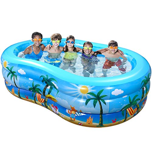 iBaseToy Aufblasbare Pool, 240 x 150 x 60 cm Groß Planschbecken für Kinder Erwachsene Baby, Family Pool Schwimmbecken Rechteckig Swimmingpool Babypool, für Alter 3+