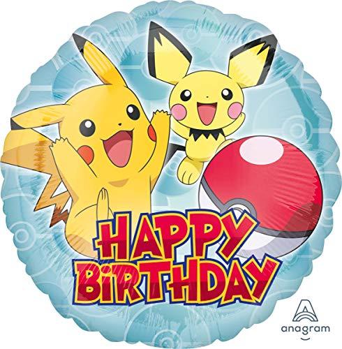 Amscan 3633301 Folienballon Pokemon Happy Birthday One Size Gelb