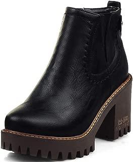 Women's Retro Chelsea Boots Block High Heel Zipper Platform Martin Ankle Booties