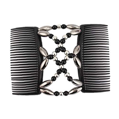 BYFRI Rétractable Peigne Double Clip Perles Peigne Magique élastique Accessoires Cheveux Barrette de Femmes pour Les Filles