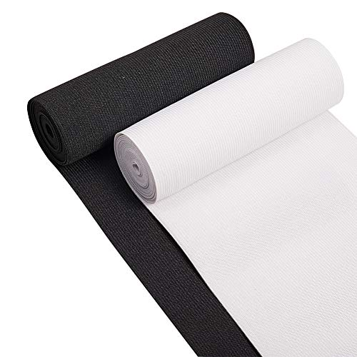 BENECREAT 6-Inch Wide by 4-Yard Flat Elastic Black and White Heavy Stretch Knit for Sewing Project