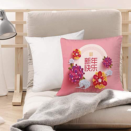 Funda de Cojines Suave Poliéster,Año nuevo chino, círculo rosa pálido con ramos de flores a,Funda de Almohada Cremallera Oculta Duradero Decoración para Sofá Cama Dormitorio Aire Libre Oficina 45x45cm