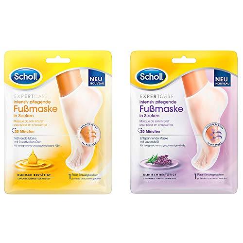 Scholl Fußmasken-Ausprobierpaket mit zwei Masken | 3-fach Öl & Lavendel (2 x 1 Paar)