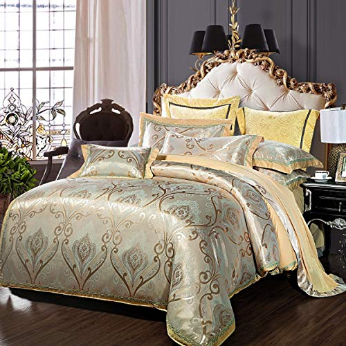 Usitde European Duvet Cover Embroidery Jacquard Bedding Set Duvet Cover Sets Cotton Rich Silky Woven Jacquard Breathable Stain and Fade Resistant Super Soft Comforter Bedding Set King Size