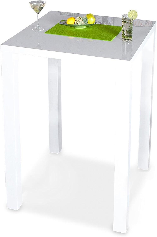 Levandeo Bar-Tisch Tresen Küchentisch Wei Hochglanz Stehtisch Bartresen Esstisch Ablage Küche 105x80x80cm