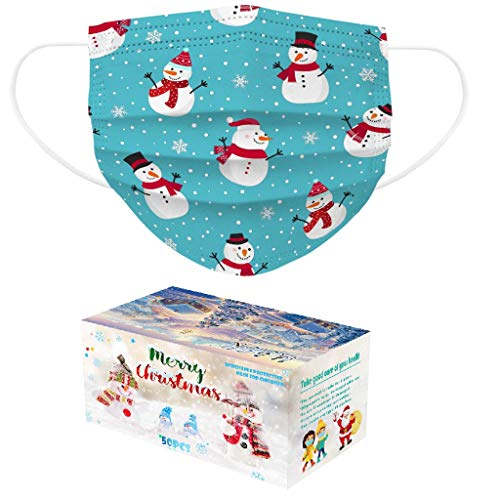 50 PCS Christmas Disposable_Face_Masks for Adults & Kids,2-Sizes 3-ply Non-Woven Fabric - Christmas Snowman Pattern - Protects from Dust, Pollen, Pet Dander,Other Irritants (Kids, Blue)
